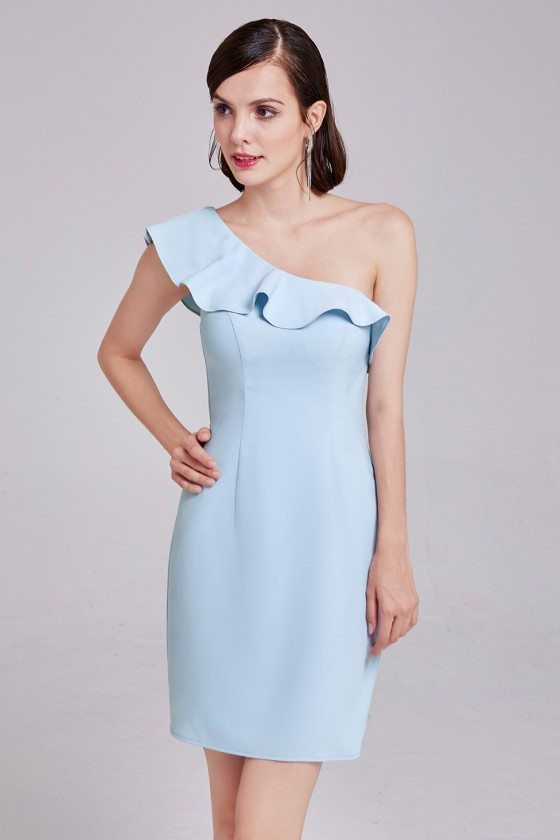 Blue Elegant One-Shoulder Short Wedding Guest Dress