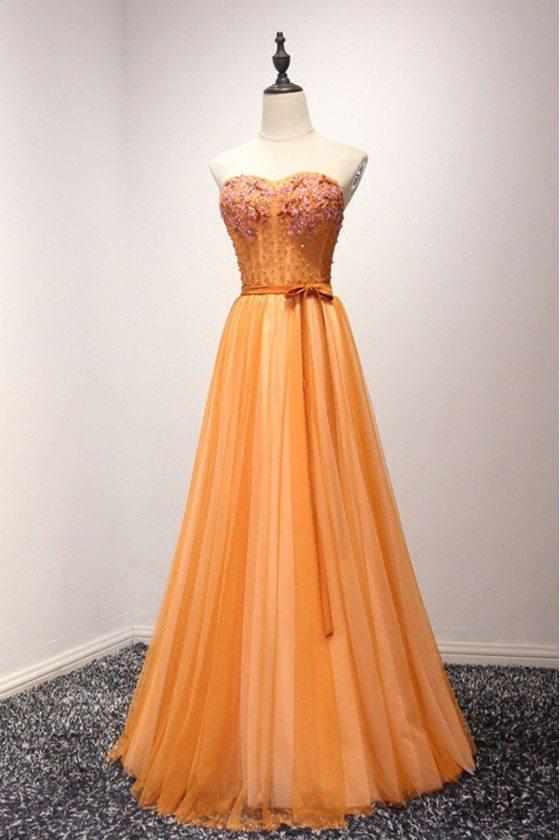 Unique Orange Beaded Formal Dress Strapless Long For Teens