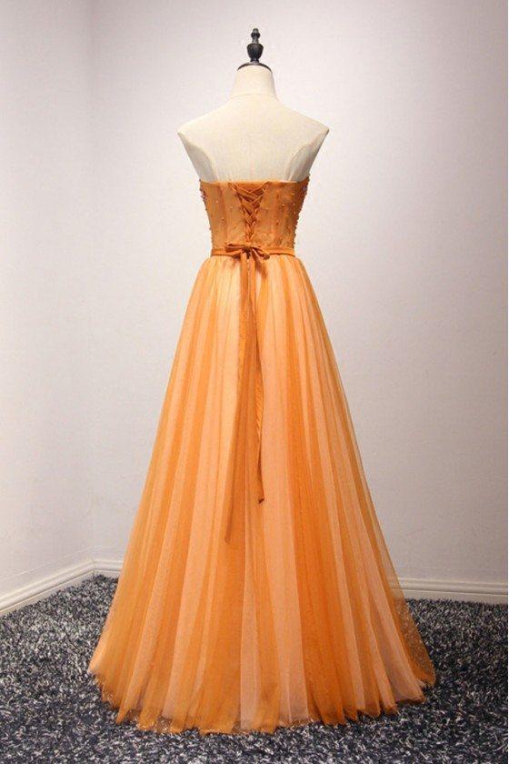 Unique Orange Beaded Formal Dress Strapless Long For Teens 149