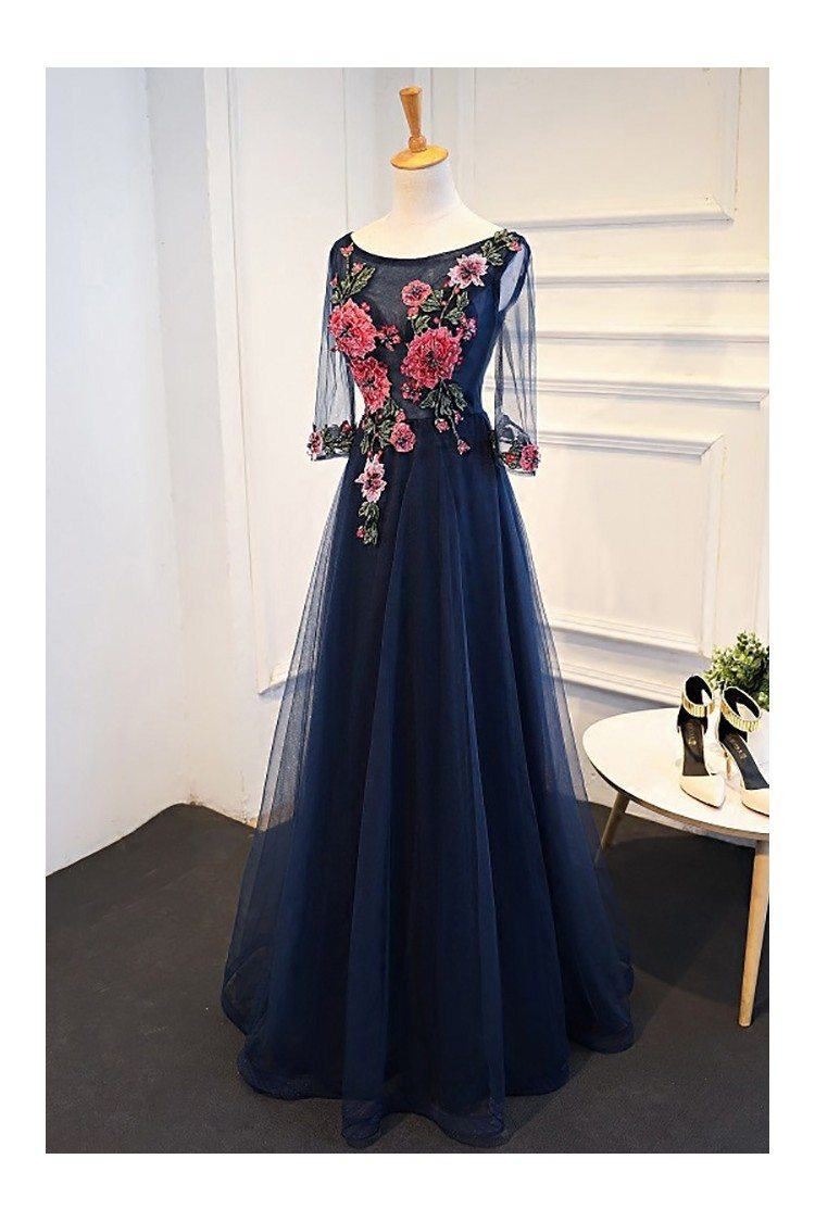 Uniuqe Navy Blue Long Tulle Prom Dress 3 4 Sleeves With
