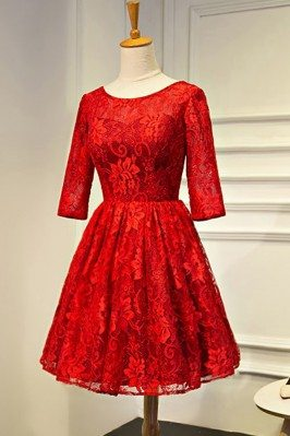 Red Lace Short Bridal Party...