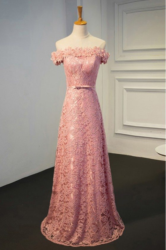 Pretty Pink Lace Off Shoulder Long Party Dress For Formal