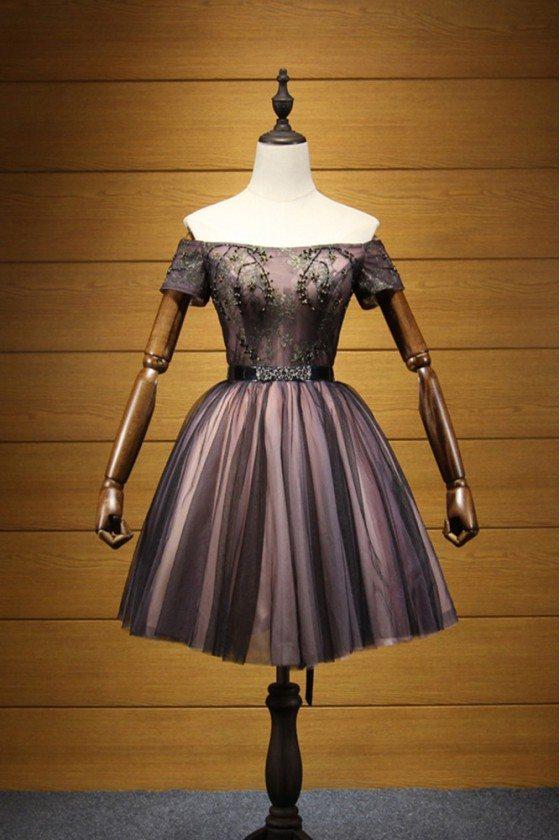 Vintage Black Beaded Prom Dress Short With Off Shoulder Sleeves