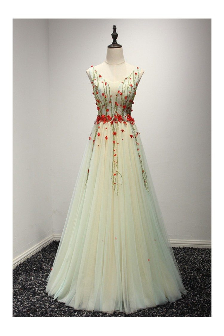 Different Long Yellow Prom Dress With Green Beading And