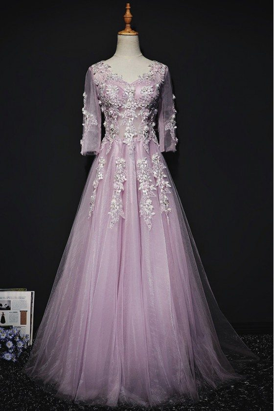 Gorgeous Purple A Line Lace Long Prom Dress With 3/4 Sleeves