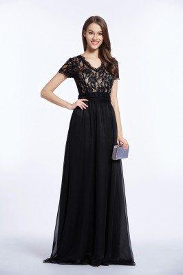 Floor Length Lace Short Sleeve Formal Dress