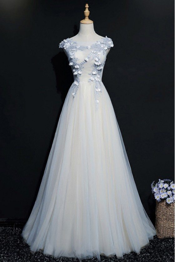 Blue A Line Long Tulle Prom Dress With Cap Sleeves