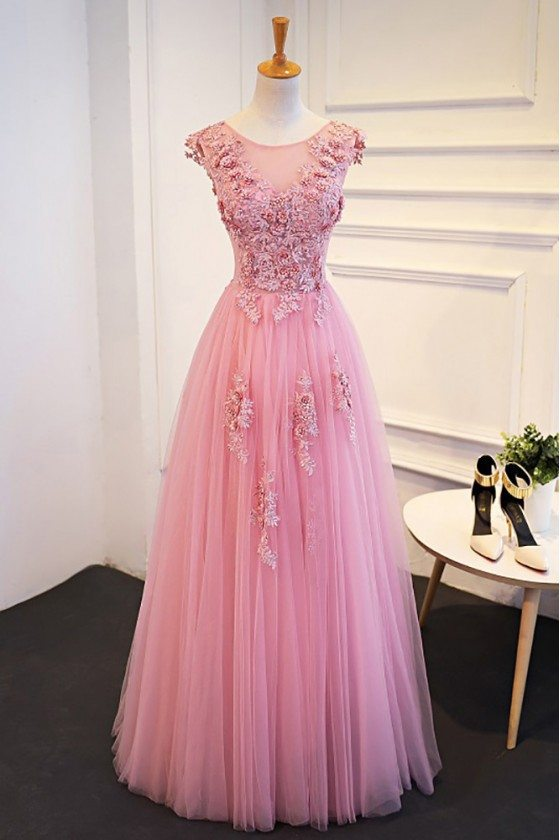 Gorgeous Pink Beaded Lace Long Tulle Prom Dress Sleeveless