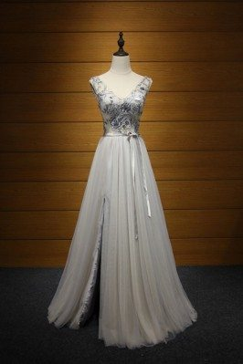 Long Slit V-neck Prom Dress...