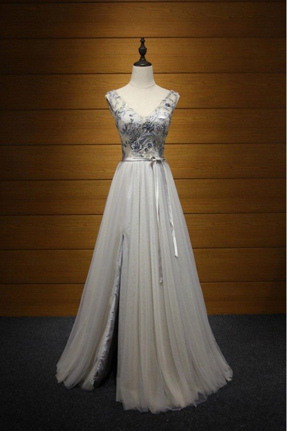 Long Slit V-neck Prom Dress Grey With Beading For Juniors