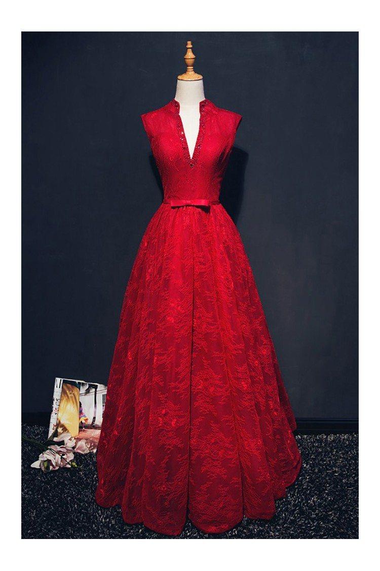 Chic Burgundy Deep V Neck Long Formal Dress Lace Sleeveless 139