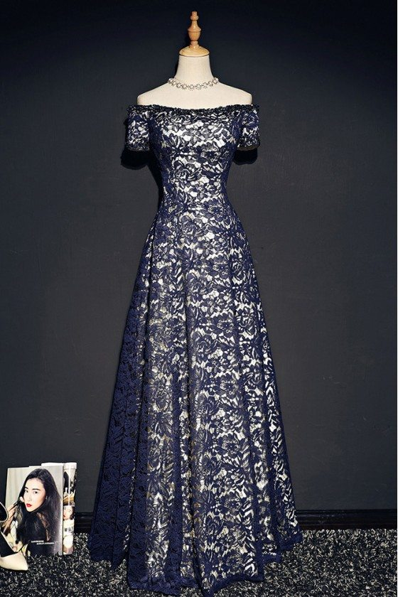 Navy Blue Off Shoulder Lace Prom Dress With Sleeves