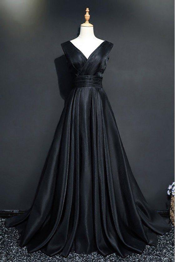 Classy V-neck Long Black Prom Formal Dress For Women