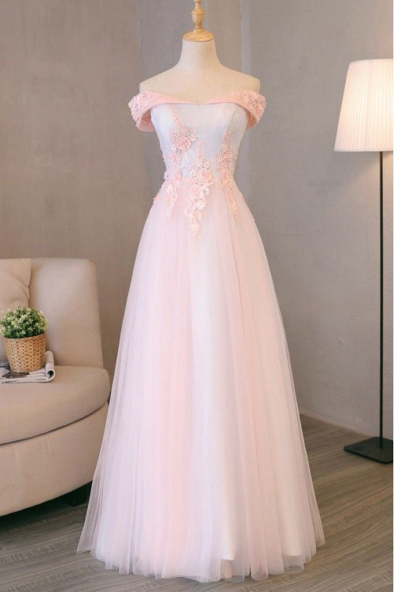 Pretty Pink Tulle Long Prom Dress Lace With Off Shoulder