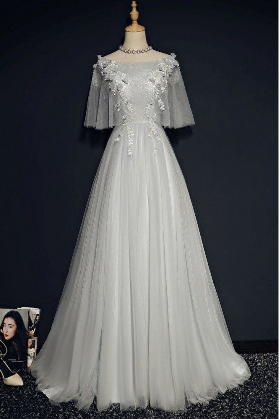 Gorgeous Grey Long Tulle Prom Dress For Curvy Girls With Butterfly Sleeves