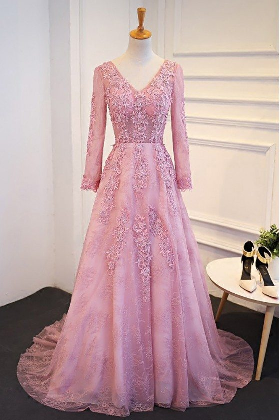 Elegant Lace Long Sleeve Prom Dress With V-neck Sweep Train
