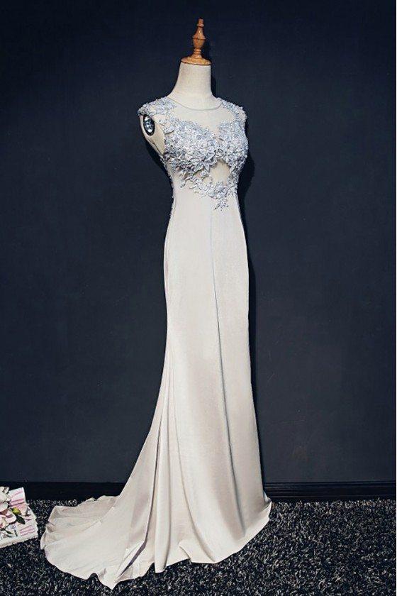 Classy Grey Long Formal Mermaid Prom Dress Lace Sleeveless