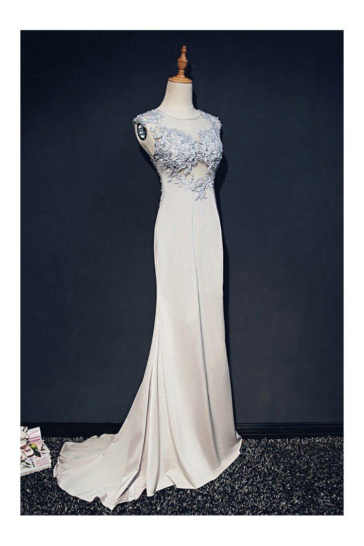 Classy Grey Long Formal Mermaid Prom Dress Lace Sleeveless - $139 ...