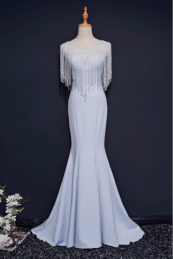 Classy Light Blue Formal Long Prom Dress Mermaid With Bling
