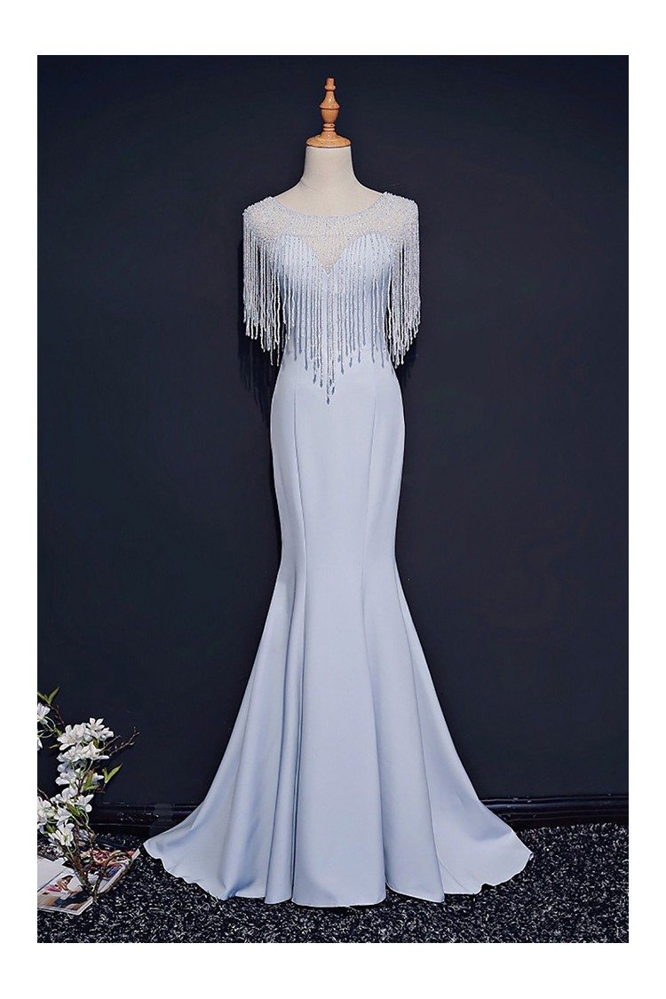 Classy Light Blue Formal Long Prom Dress Mermaid With