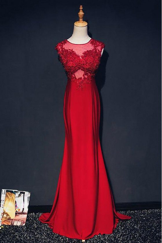 Burgundy Lace Mermaid Long Formal Party Dress With Train