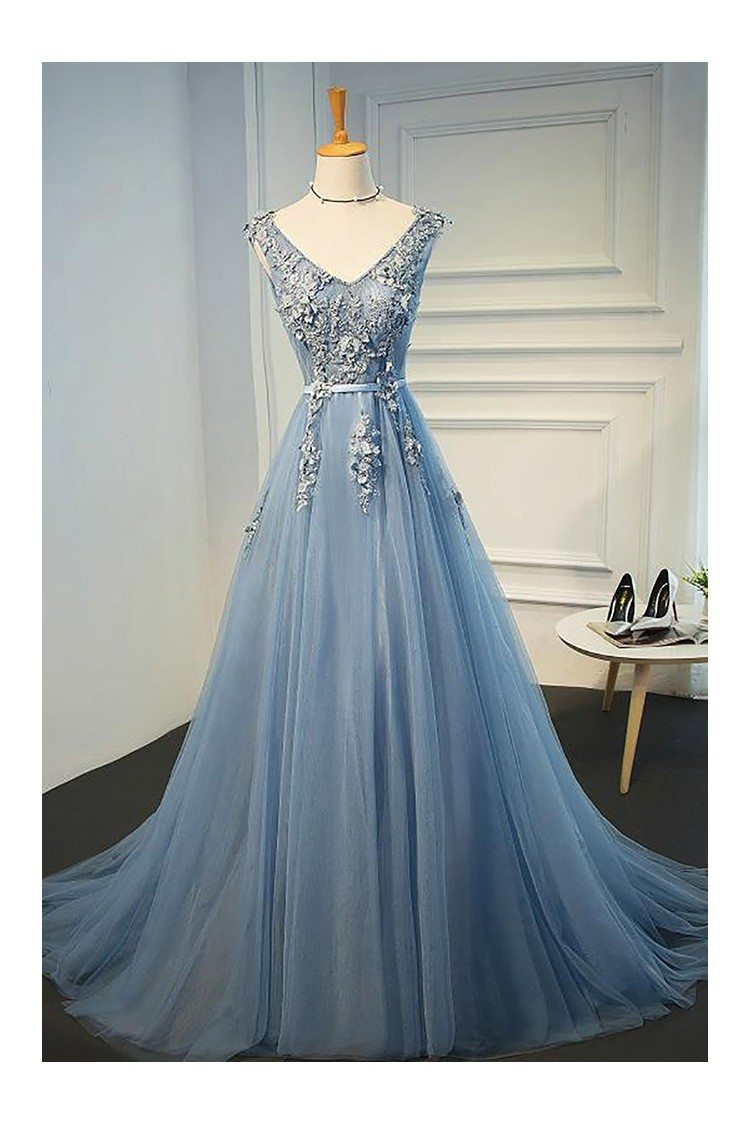 Gorgeous Dusty Blue V-neck Long Lace Prom Dress With Open Back ...