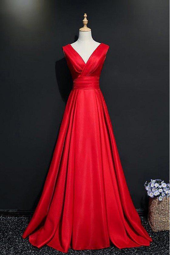 Elegant Burgundy V-neck Long Formal Party Dress With Train