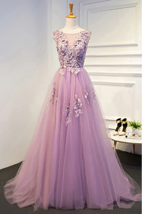 Beautiful Light Purple Beaded Lace Long Prom Dress Tulle