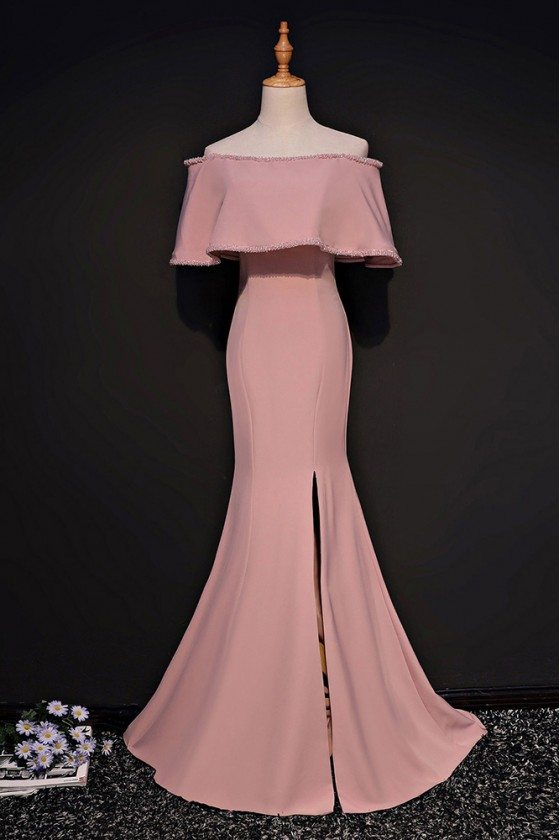 Sheath Off The Shoulder Pink Mermaid Formal Dress With Slit