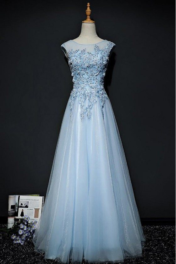 Sky Blue A Line Long Tulle Prom Dress With Lace Cap Sleeves