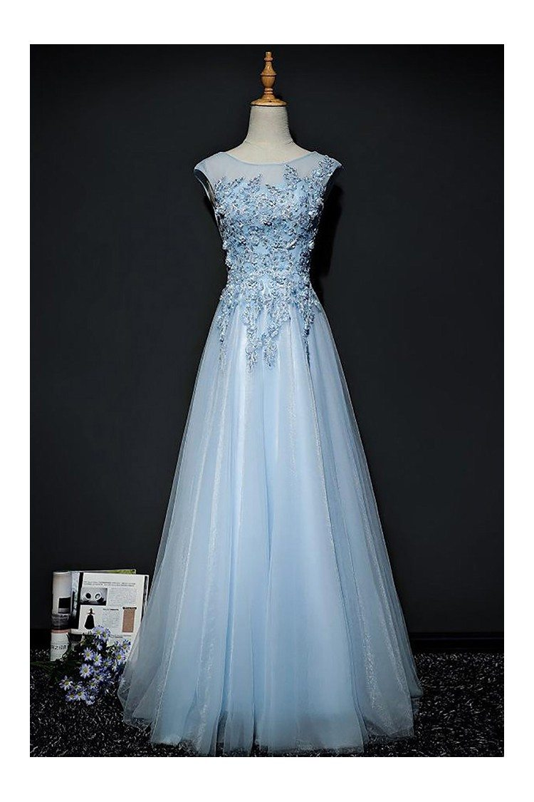 Sky Blue A Line Long Tulle Prom Dress With Lace Cap Sleeves - $158 ...