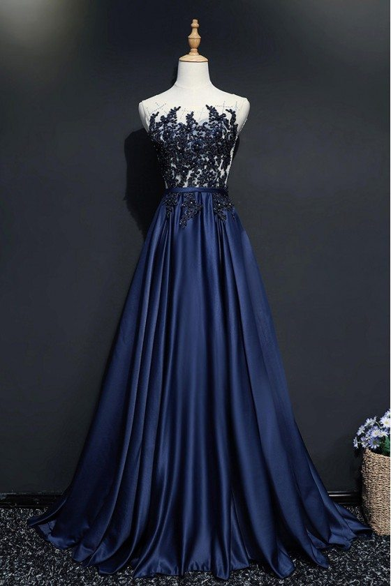 Navy Blue Sequined Lace Long Prom Dress Formal Sweep Train