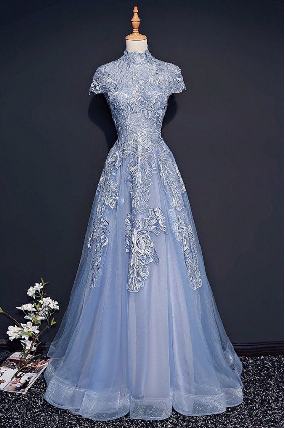 Unique Retro Blue High Neck Lace Prom Dress Long With Short Sleeves