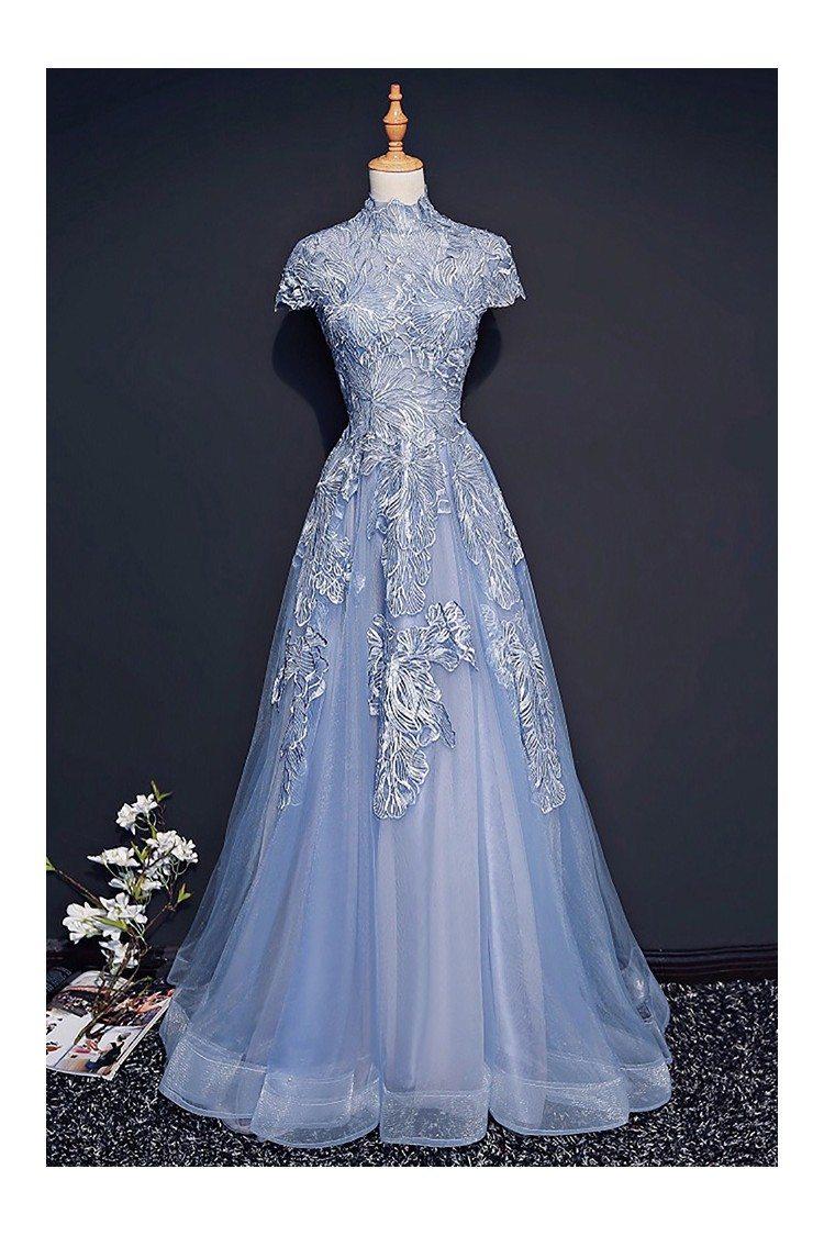 Unique Retro Blue High Neck Lace Prom Dress Long With