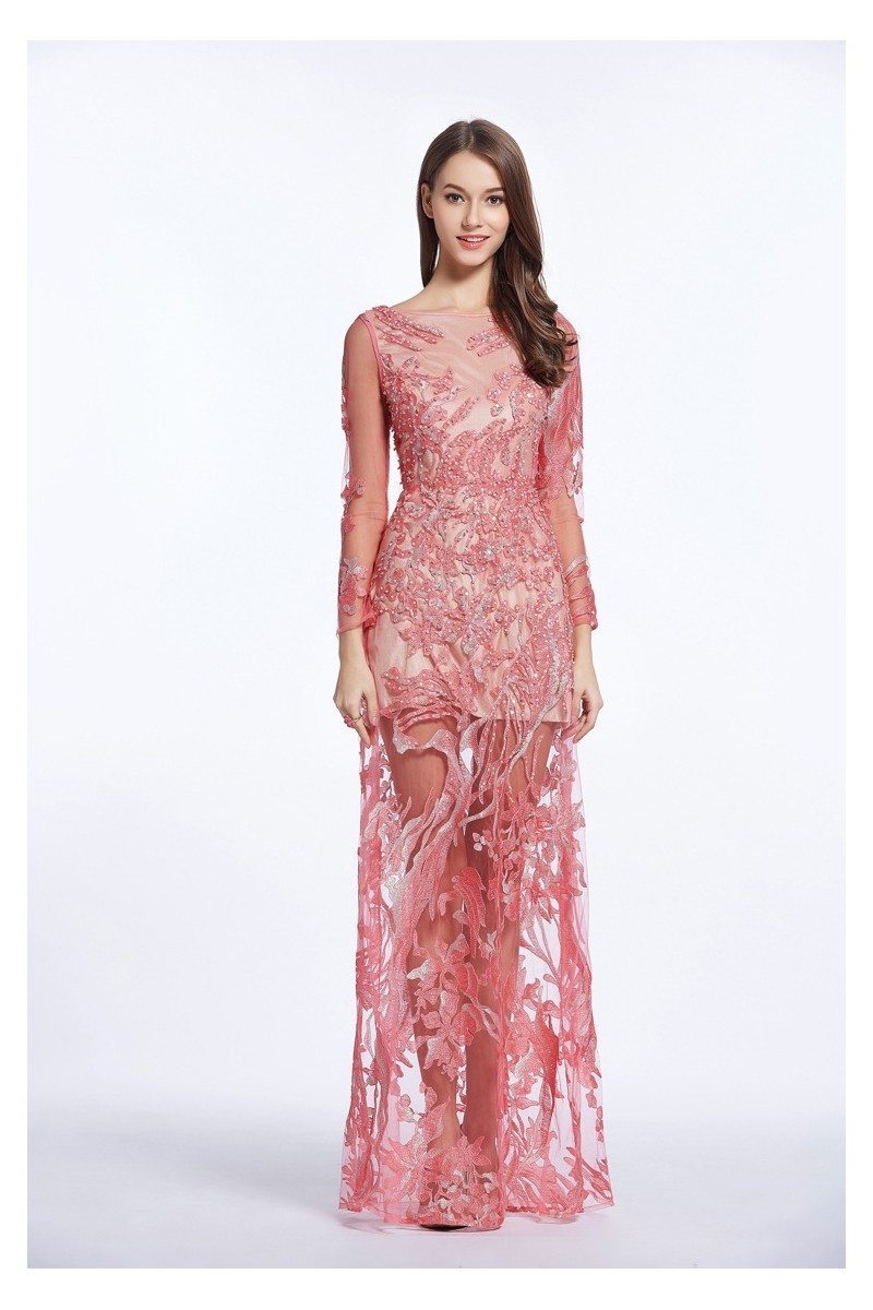 See-through Embroidery Long Sleeve Prom Dress - $168 #CK479 ...
