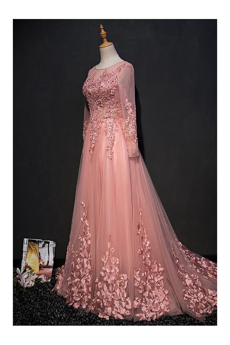 Beautiful Pink Long Sleeve Prom Dress With Lace Petals - $129 ...