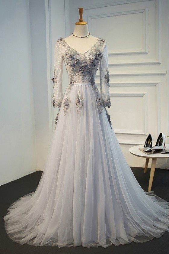 Elegant Grey A Line Formal Long Prom Dress With Long Tulle Sleeves