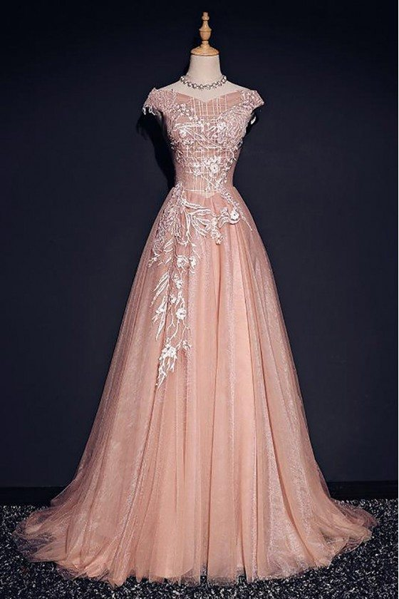 Pink Formal Long Tulle Prom Dress With Cap Sleeves Long Train