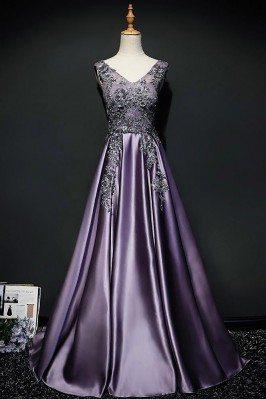 Purple Long Formal Satin...