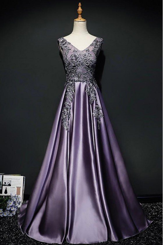 Purple Long Formal Satin Prom Dress Sleeveless With Open Back