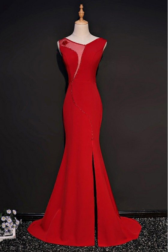 Unique Red Fitted Mermaid Formal Dress With Slit