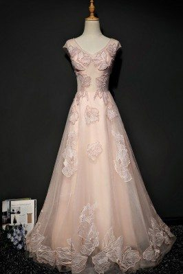 Unique Lace Pink Tulle Long...
