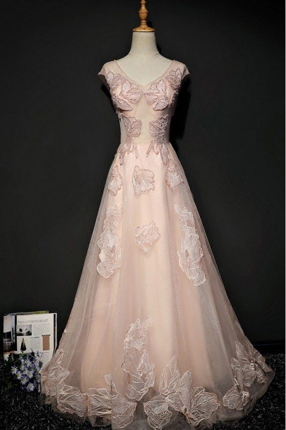 Unique Lace Pink Tulle Long Prom Dress With Cap Sleeves