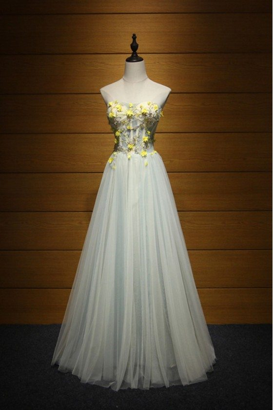 Strapless Long Tulle Prom Dress With Yellow Florals