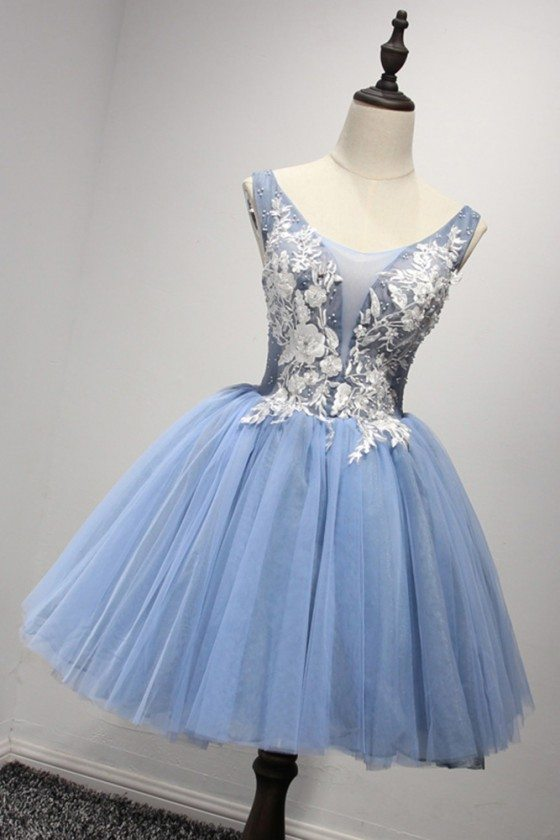 Corset Short Blue Homecoming Dress With White Lace Beading Straps