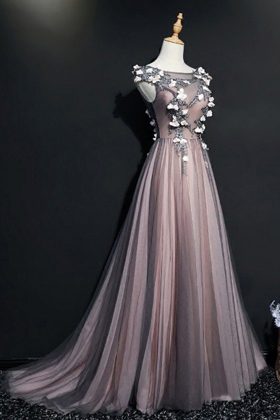 Different Black Tulle Long Prom Dress With Cap Sleeves Flowers ...