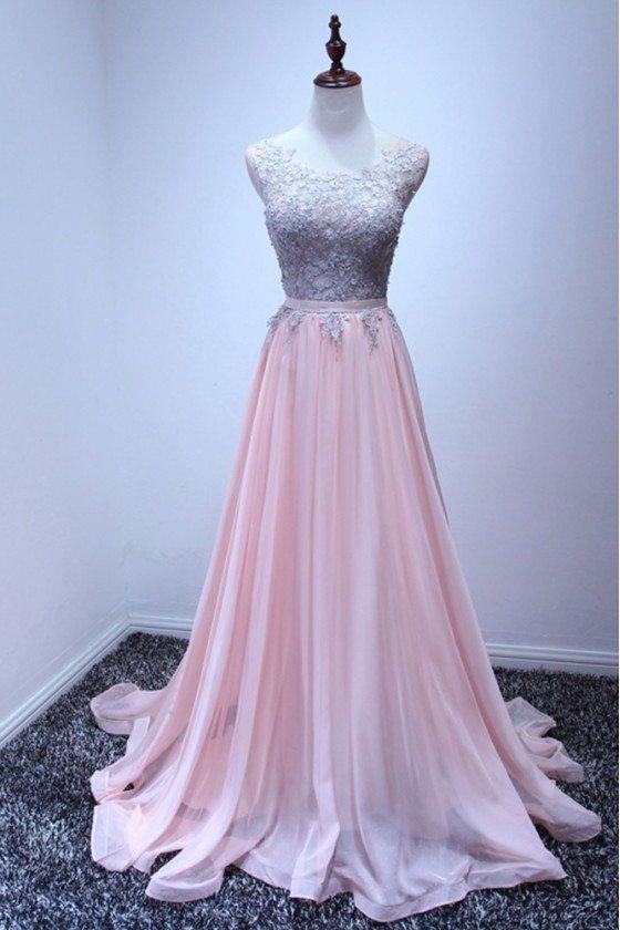 Beautiful Pink Chiffon Prom Dress Long With Grey Lace 2018