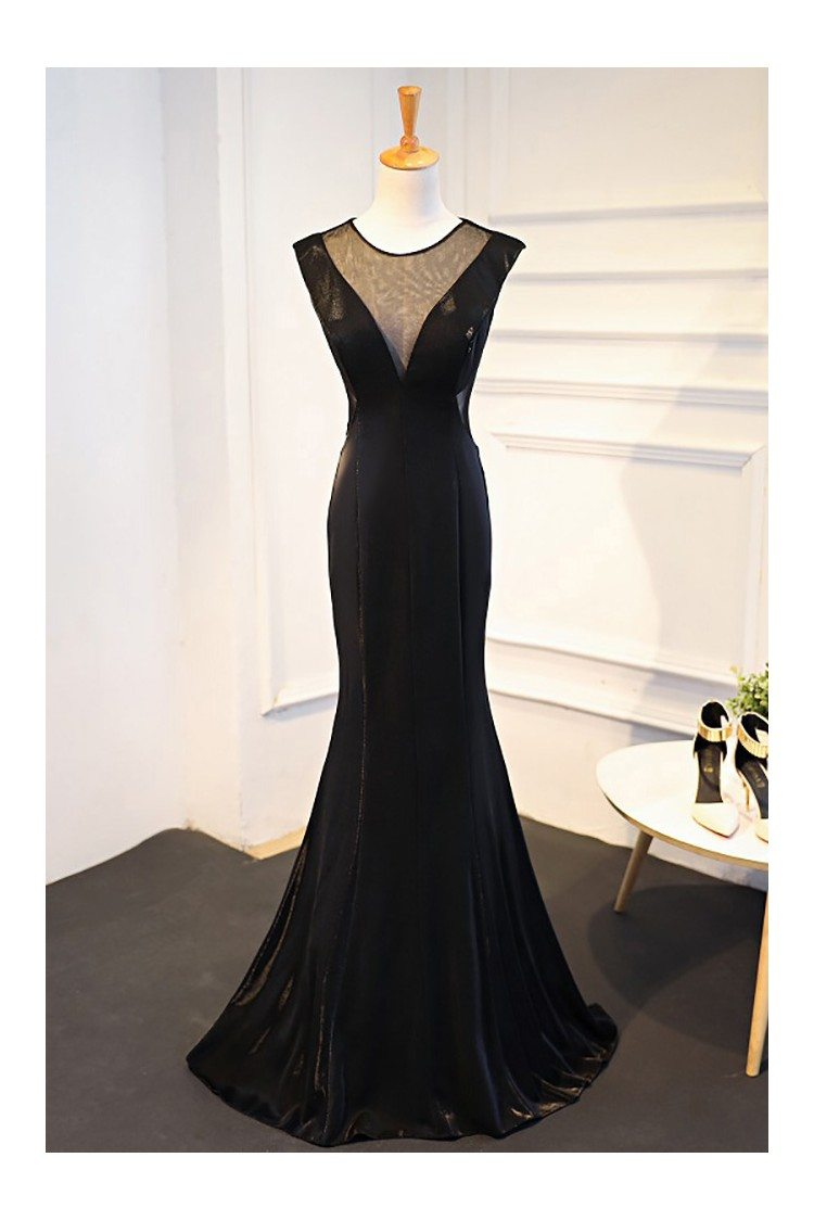 Sexy Deep V Neck Long Black Mermaid Formal Dress 109