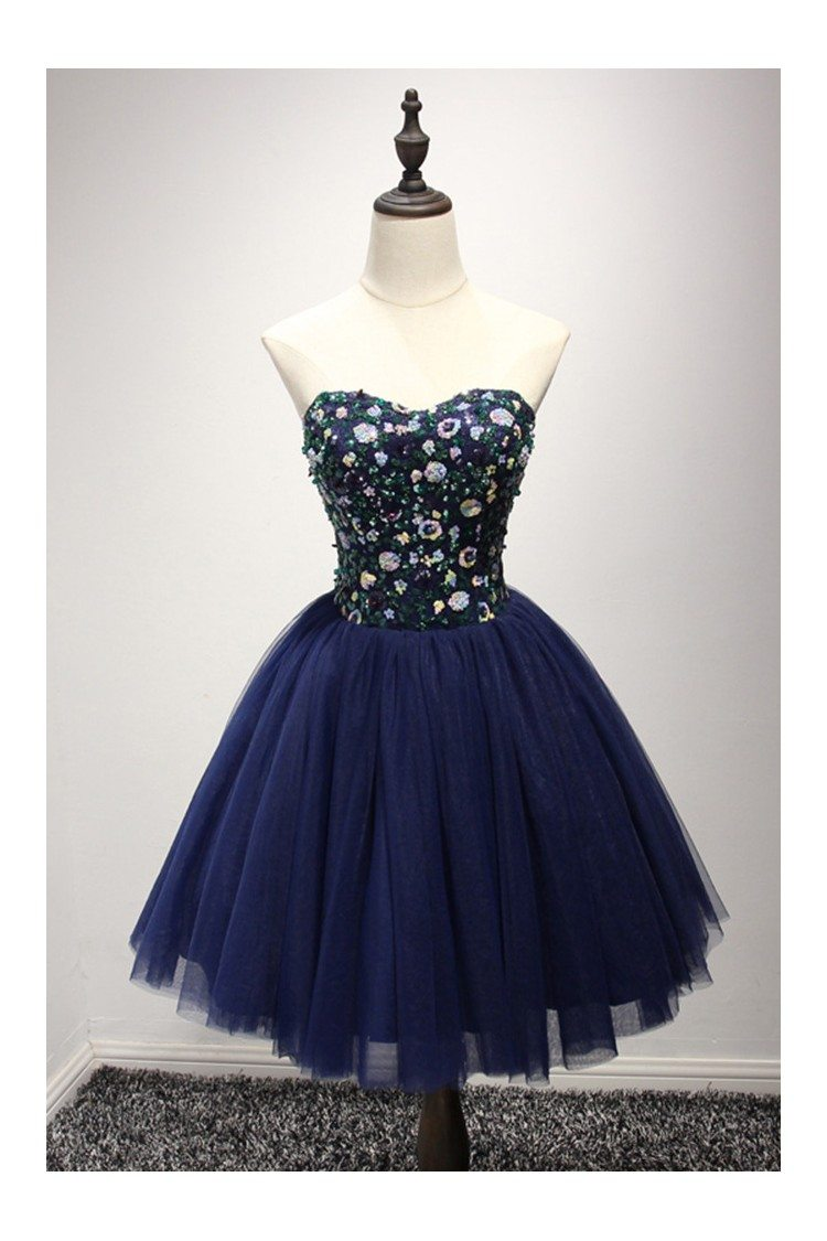 Dark Navy Blue Short Prom Dress With Sequin Bodice For Juniors ...