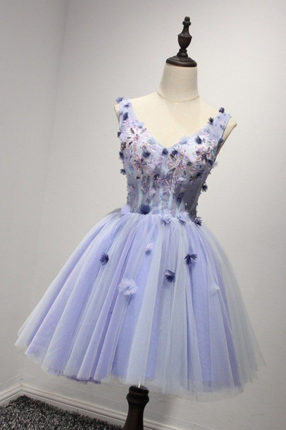 Vintage Lavender Short Prom Dress Beaded With Straps For Teens